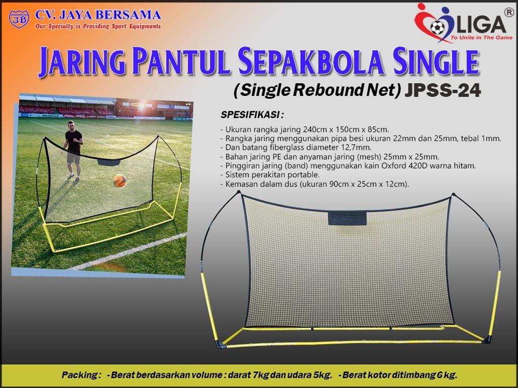 Spesifikasi Jaring Pantul Sepakbola Single JPSS-24 merek Liga sebagai berikut : - Ukuran rangka jaring yaitu 240cm x 150cm x 85cm. - Rangka jaring menggunakan pipa besi yaitu ukuran 22mm dan 25mm dengan tebal 1mm.